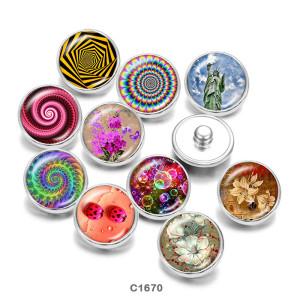 Botones a presión de vidrio con estampado de flores bonitas de 20 mm