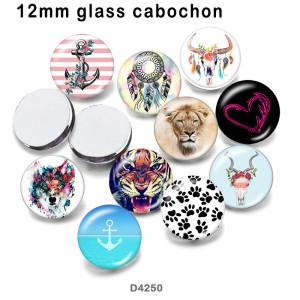 10 unids / lote productos de impresión de imágenes de vidrio de tigre atrapasueños de varios tamaños imán de nevera cabujón
