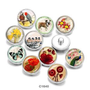 Botones a presión de vidrio con estampado de flores y mariposas de 20 mm