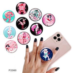 Muñeca de dibujos animados El soporte para teléfono móvil Tomas de teléfono pintadas con una base de patrón de impresión en blanco o negro