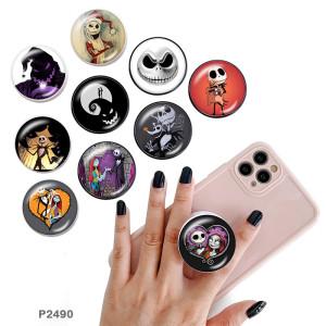 Mueca de Halloween El soporte para teléfono móvil Tomas de teléfono pintadas con una base de patrón de impresión en blanco o negro