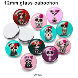 10 pcs/lot produits d'impression d'image en verre de crâne de chien de différentes tailles cabochon d'aimant de réfrigérateur