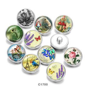 Botones a presión de vidrio con estampado de mariposas Elfos Flowe de 20 mm