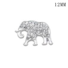 象の反戦ピースサイン 12MM スナップシルバーメッキ交換可能なスナップジュエリー