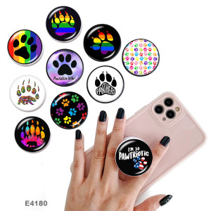 Estampado de pata de oso El soporte para teléfono móvil Tomas de teléfono pintadas con una base estampada en blanco o negro