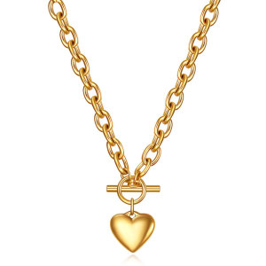 46CM chain Stainless Steel Necklace 18K Gold Stainless Steel Love Letter Necklace Heart Pendant