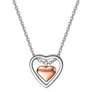 55CM chain Fashion double love stainless steel necklace