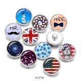 Стеклянные кнопки с принтом снеговика и флагом США 20 мм