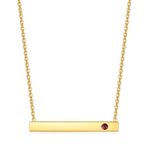 46CM chain Stainless steel necklace inlaid with birthstones