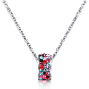 46CM chain Stainless steel color white crystal with diamond pendant necklace
