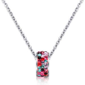 Цепочка 46 см из нержавеющей стали цвета белый кристалл с бриллиантовым ожерельем