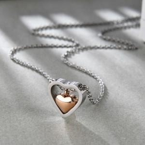 Колье из нержавеющей стали с цепочкой 55 см, модное ожерелье с двойной любовью