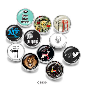 Стеклянные кнопки с принтом оленя и льва 20 мм