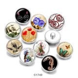 20MM  Elephant  Butterfly  Print   glass  snaps buttons