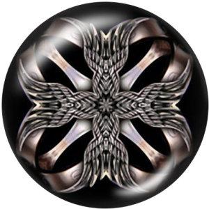 Стеклянные застежки-кнопки с принтом ленты в виде цветов любви 20 мм