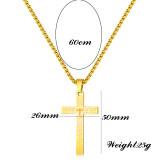 60CM chain Stainless Steel Vintage Cross Scripture Pendant Necklace