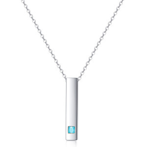 46CM chain Simple square cylinder stainless steel pendant necklace with zircon