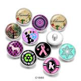20MM Faith Dance Ribbon Print boutons pressions en verre