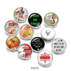 20MM  Pumpkin   Merry  Christmas  Print   glass  snaps buttons