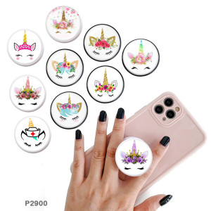 Unicorn The mobile phone holder Painted phone sockets with a black or white print pattern base