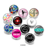 Boutons pressions en verre 20MM Butterfly Faith love Print