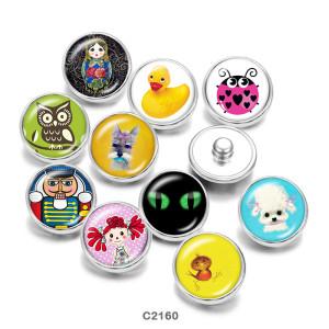 20MM Cartoon girl Owl Print boutons pressions en verre