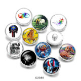 20MM  Horse  Feather  skull  Print   glass  snaps buttons