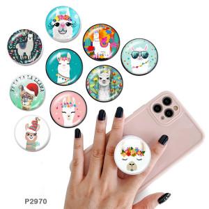 アルパカ携帯電話ホルダー黒または白のプリントパターンベースの塗装済み電話ソケット