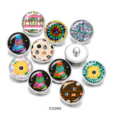 20MM  color  Flower  Print   glass  snaps buttons
