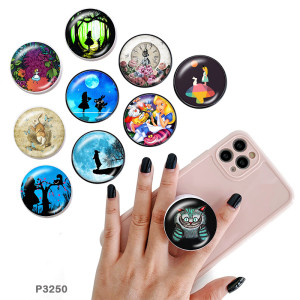 Cartoon The mobile phone holder Painted phone sockets with a black or white print pattern base
