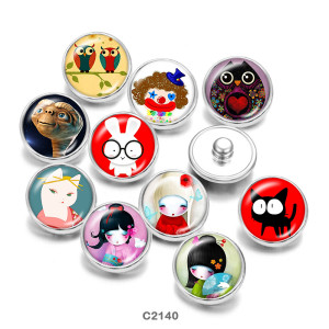 20MM Cartoon girl Print boutons pressions en verre