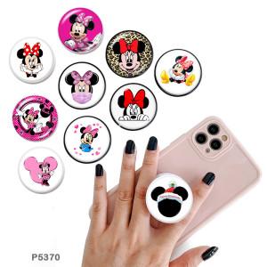 Dessin animé Mickey Le support de téléphone portable Prises de téléphone peintes avec une base à motif imprimé noir ou blanc