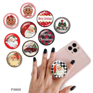Christmas The mobile phone holder Painted phone sockets with a black or white print pattern base