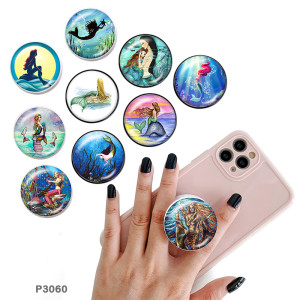 Mermaid The mobile phone holder Painted phone sockets with a black or white print pattern base