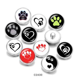 Boutons pressions en verre imprimés yin et yang pour chien 20MM