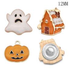 12 мм Хэллоуин тыква призрак дизайн металлический посеребренный шармы с кнопками Многоцветный