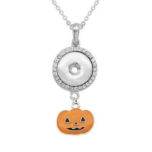 Halloween Kürbis Geist Halskette Mit Zubehör Silber passen 20MM Brocken 50CM Kette Druckknöpfe Schmuck
