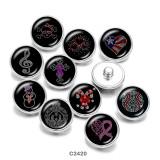 20MM  love  skull  Ribbon  Print   glass  snaps buttons