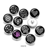 20MM  love  snowflake  Print   glass  snaps buttons