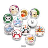 20MM  Cartoon  Elephant   hedgehog  Print   glass  snaps buttons
