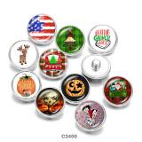 20MM USA Santa Claus Print boutons pressions en verre
