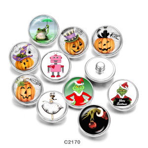 20MM  Thanksgiving   Christmas  frog  Print   glass  snaps buttons