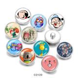 20MM  Cartoon  Owl  Print   glass  snaps buttons