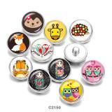 Стеклянные кнопки с принтом совы, 20 мм, мультяшная девушка, пуговицы