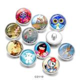 20MM  Elves  Owl  Cartoon  Print   glass  snaps buttons