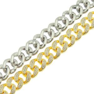 Brazalete de diamantes estilo hip-hop europeo y americano para hombres, brazalete de cadena cubana, brazalete ancho de diamantes completo y dominante.