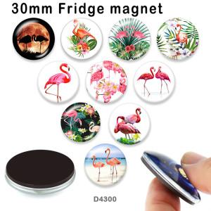 10pcs / lot Flamingoglasbilddruckprodukte in verschiedenen Größen Kühlschrankmagnet Cabochon
