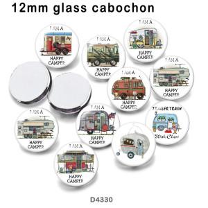 10pcs / lot Happy Camper BUS Glasbilddruckprodukte in verschiedenen Größen Kühlschrankmagnet Cabochon