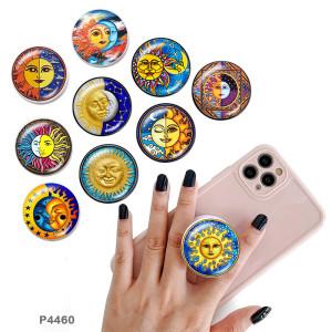 Sun Le support de téléphone portable Prises de téléphone peintes avec une base à motif imprimé noir ou blanc