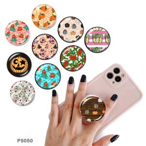 Citrouille d'Halloween Le support de téléphone portable Prises de téléphone peintes avec une base à motif imprimé noir ou blanc